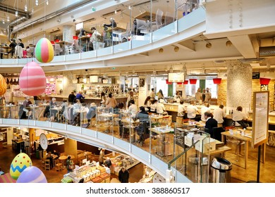Milan, Italy - March 10, 2016: Eataly in district Garibaldi. Eataly is the new important market place with only original italian product gastronomy.