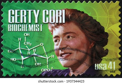 Milan, Italy  - March 10, 2021: Biochemist Gerty Cori on american postage stamp