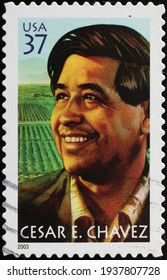 Milan, Italy  - March 10, 2021: Cesar E. Chavez on american postage stamp