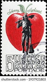 Milan, Italy  - March 10, 2021: Johnny Appleseed on old US postage stamp - Shutterstock ID 1937921803