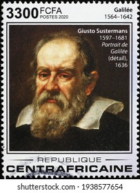 Milan, Italy  - March 10, 2021: Portrait of Galileo Galilei on postage stamp