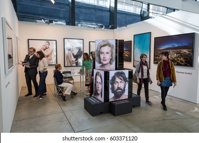 MILAN, ITALY - MARCH 10: People visit MIA, international photography and moving image art fair on MARCH 10, 2017 in Milan.