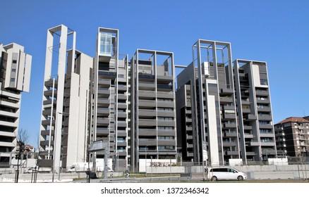 MILAN, ITALY - MARCH 12, 2019: Modern condo buildings in Milan, Italy.