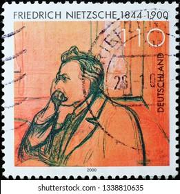 Milan, Italy – March 13, 2019: Philosopher Friedrich Nietzsche on german postage stamp