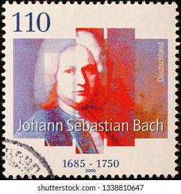 Milan, Italy – March 13, 2019: Portrait of Johann Sebastian Bach on german postage stamp