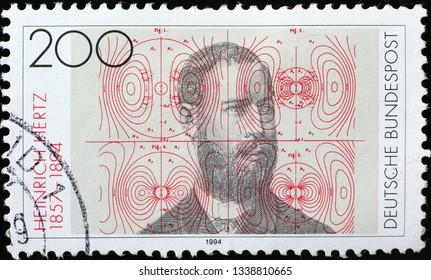Milan, Italy – March 13, 2019: Heinrich Hertz on german postage stamp