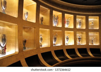MILAN, ITALY - MARCH 13, 2019: Trophies displayed at Casa Milan Museum, Milan, Italy.
