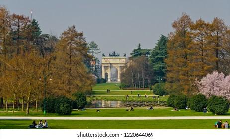 Milan, Italy - March 14, 2014: Sempione Park