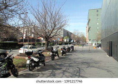 MILAN, ITALY - MARCH 14, 2019: A view of Viale Filippetti in central Milan, Italy.