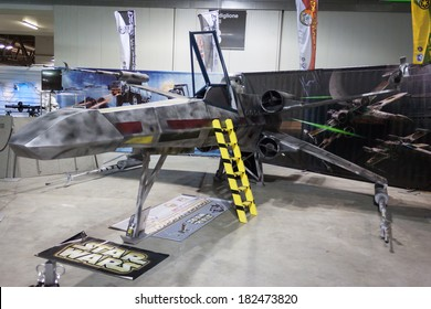 MILAN, ITALY - MARCH 14: X-wing starfighter on display at Cartoomics, event dedicated to comics, cartoons, cosplay, fantasy and gaming on MARCH 14, 2014 in Milan