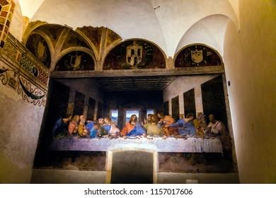 Milan, Italy - March 15, 2016 - The Last Supper by Leonardo da Vinci in the refectory of the Convent of Santa Maria delle Grazie