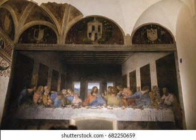 Milan, Italy - March 15, 2016 - The Last Supper by Leonardo da Vinci in the refectory of the Convent of Santa Maria delle Grazie