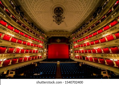 MILAN, ITALY – MARCH 15, 2017: Interior of world famous La Scala (Teatro alla Scala, 1778) - an opera house in Milan interior.