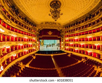 MILAN, ITALY - MARCH 15, 2017: Main concert hall of Teatro alla Scala, an opera house in Milan, Italy. Opened in 1778, Scala regarded as one of the leading opera and ballet theatres in the world.