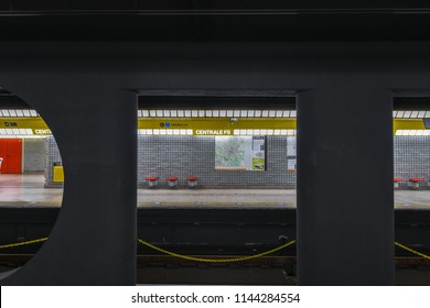 Milan, Italy - March 17, 2018:  Interior of the Milan Central Metro Station in Italy.