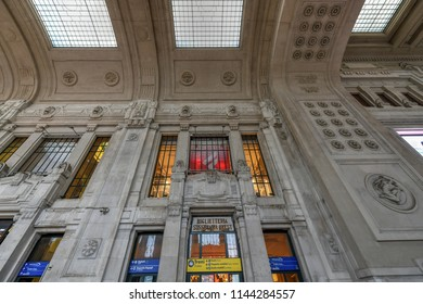 Milan, Italy - March 17, 2018: Beautiful interior of the Milan Central Railway Station (Milano Centrale).