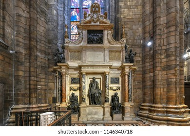 Milan, Italy - March 17, 2018: Milan Cathedral, Duomo di Milano, one of the largest churches in the world.