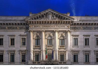 Milan, Italy - March 17, 2018: Gallerie d'Italia Piazza Scala, Gallery of Italian contemporary art in Milan.