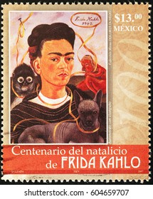 Milan, Italy - March 19, 2017: Frida Kahlo self-portrait on mexican postage stamp
