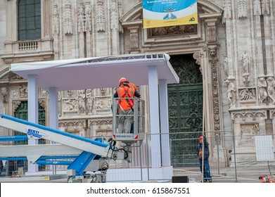 Milan Italy in March 2017: preparation for the pastoral visit of Pope Francis