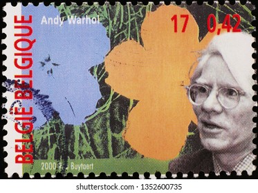 Milan, Italy – March 21, 2019: Portrait of Andy Warhol on postage stamp