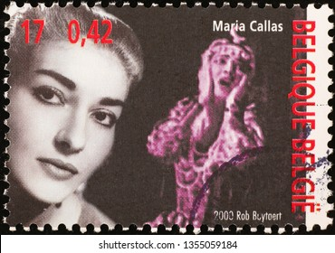 Milan, Italy – March 21, 2019: Portrait of Maria Callas on postage stamp