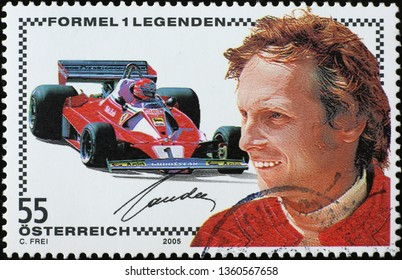 Milan, Italy – March 21, 2019: Racing driver Niki Lauda on postage stamp