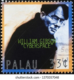 Milan, Italy – March 21, 2019: Writer William Gibson on postage stamp
