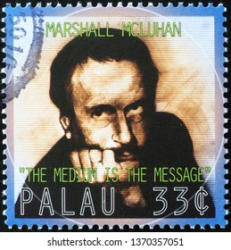 Milan, Italy – March 21, 2019: Professor Marshall McLuhan on postage stamp
