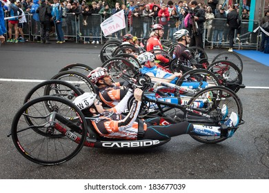 MILAN, ITALY - MARCH 23: Disabled athletes take part in Stramilano, traditional half marathon through the city streets on MARCH 23, 2014 in Milan.