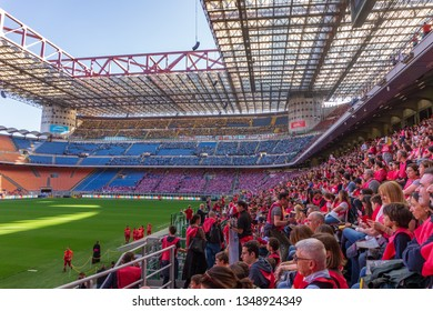 Milan, Italy - MARCH 24, 2019: Meeting between confirmeds and Diocese's Archbishop Mario Delpini in the Meazza's Stadium
