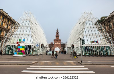 MILAN, ITALY - MARCH 24: EXPO GATE in Milano 2015, temporary structure in the center of the town. Inside to have information on EXPO 2015