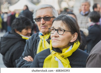 MILAN, ITALY - MARCH 25, 2016: Pilgrims gather downtown to welcome His Holiness Pope Francis during his first visit in Milan.
