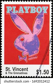 Milan, Italy - March 25, 2020: Famous rabbit of Playboy Magazine on postage stamp