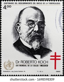 Milan, Italy - March 25, 2020: Portrait of Dr.Robert Koch on mexican stamp
