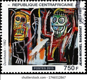 Milan, Italy - March 25, 2020: Painting by Jean-Michel Basquiat on stamp