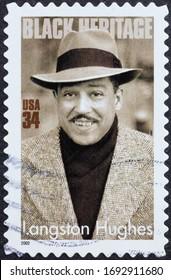 Milan, Italy - March 26, 2020: Black heritage, Langston Hughes on american stamp