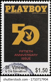 Milan, Italy - March 26, 2020: Fiftieth anniversary of Playboy Magazine on postage stamp