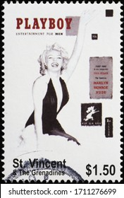 Milan, Italy - March 26, 2020: Old cover of Playboy Magazine with Marilyn Monroe on stamp