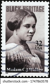 Milan, Italy - March 26, 2020: Black heritage, Madam C.J.Walker on american stamp