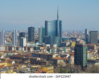 MILAN, ITALY - MARCH 28, 2015: Aerial view of the city with the new skyscrapers built for Expo Milano 2015 international exhibition