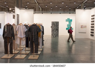 MILAN, ITALY - MARCH 28: Man visits Miart, international exhibition of modern and contemporary art on MARCH 28, 2014 in Milan.