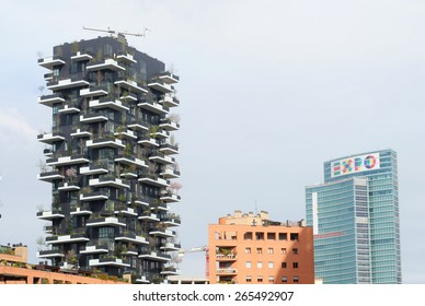 MILAN, ITALY - MARCH 29, 2015: the famous vertical gardens are with the rest of the city preparing for the World Expo starting on may 1 and ending on october 31 in this sparkling cradle of design