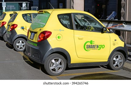 MILAN, ITALY - MARCH 3, 2016: Share'NGo, the new mobility. Environment friendly sharing of electric cars in Milan to reduce the ecological footprint
