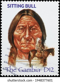 Milan, Italy  - March 30, 2021: Indian chief Sitting bull on postage stamp