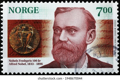 Milan, Italy  - March 30, 2021: Alfred Nobel on norwegian postage stamp