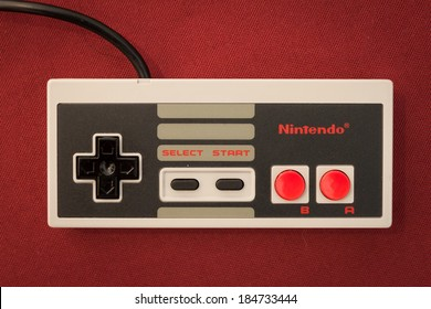 MILAN, ITALY - MARCH 30: Nintendo vintage controller at Robot and Makers Milano Show, event dedicated to robotics and makers on MARCH 30, 2014 in Milan.