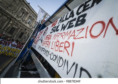 MILAN, ITALY - MARCH 30: Student manifestation held in Milan on March, 30 2012. Students protests against Monti government and banks.