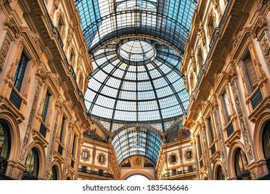 Milan, Italy - March 7 2019: The Galleria Vittorio Emanuele II is Italy's oldest active shopping mall and a major landmark of Milan
