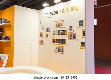 MILAN, ITALY - MARCH 8: Amazon Publishing stand at Tempo di Libri, the new Italian Publishing Fair on MARCH 8, 2018 in Milan.